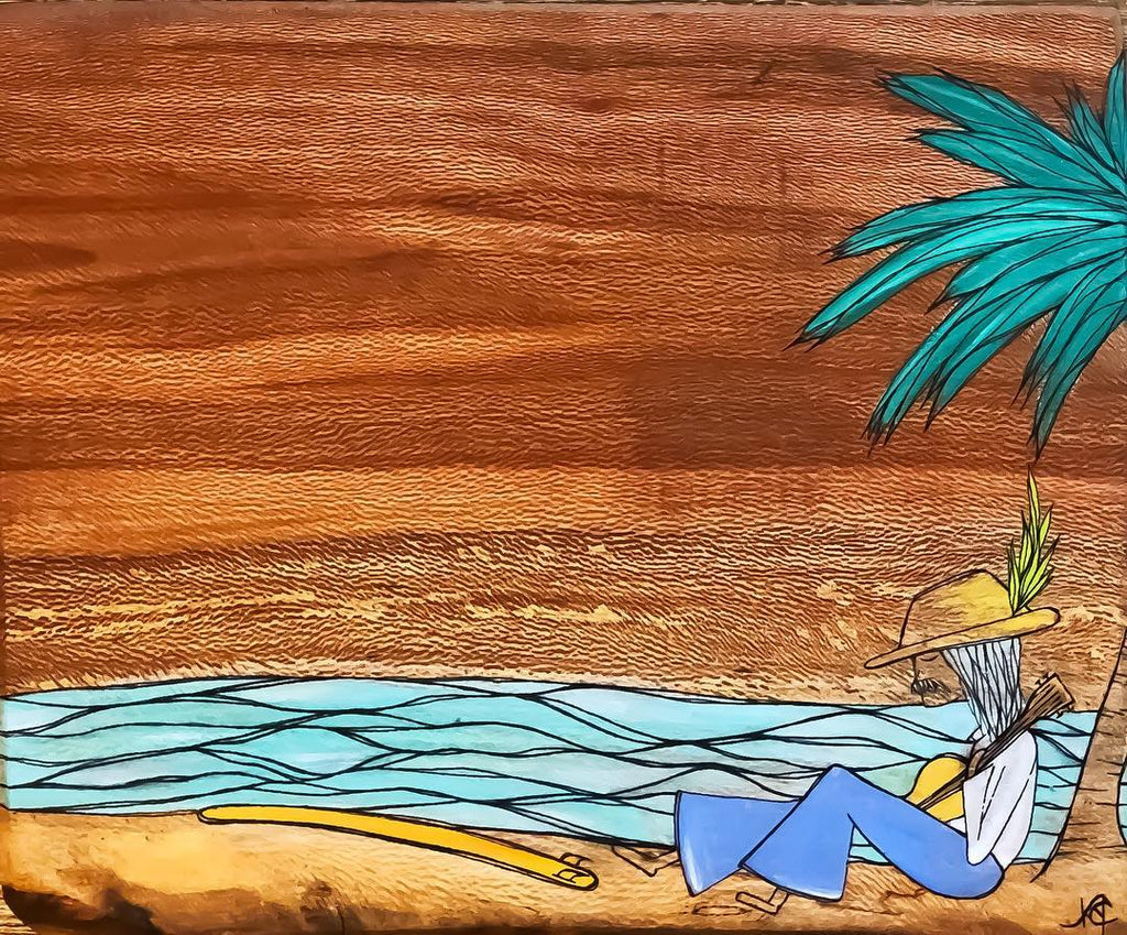 Kristina Young painting on wood her waves