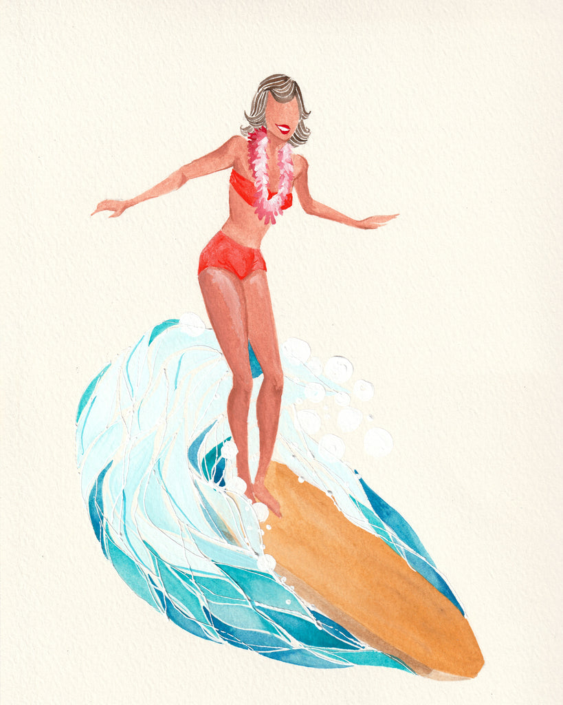 Mizuki art piece girl surfing her waves