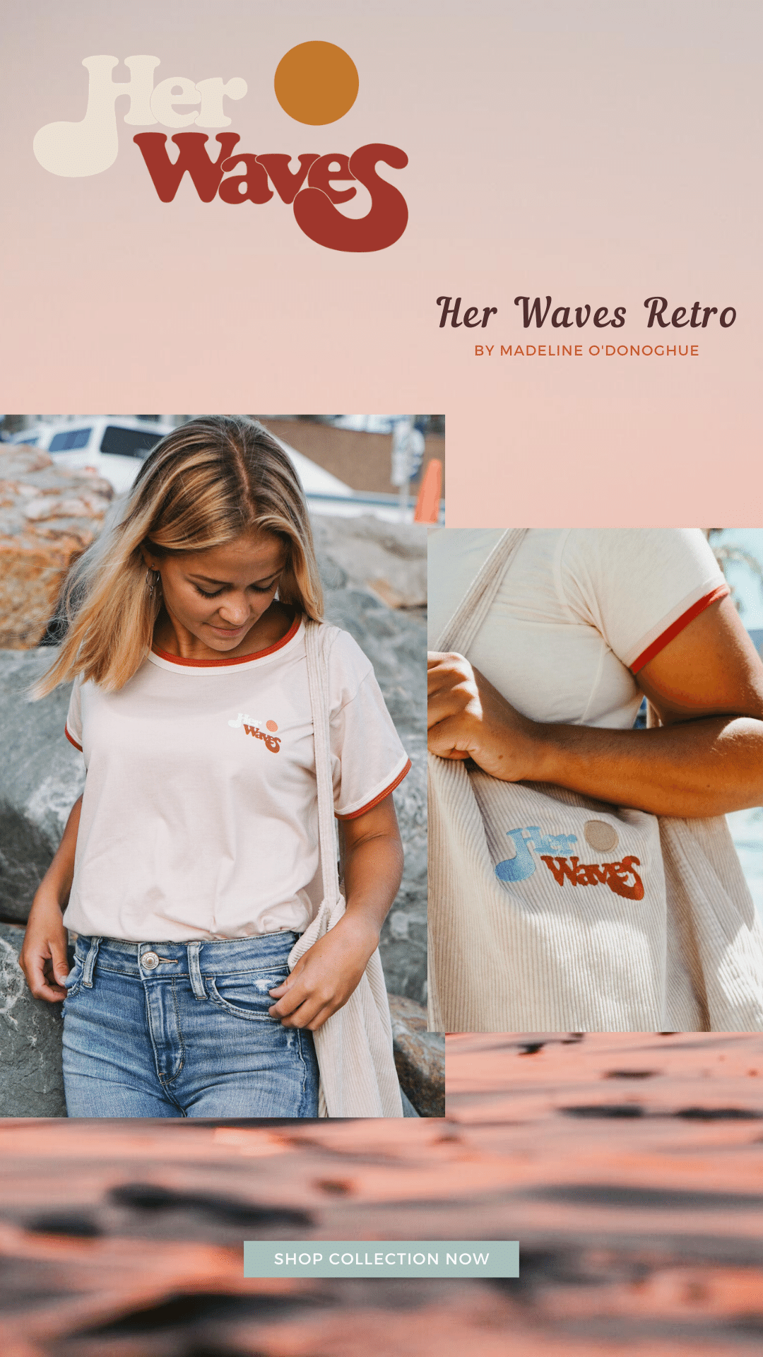 her waves retro ringer surf tee