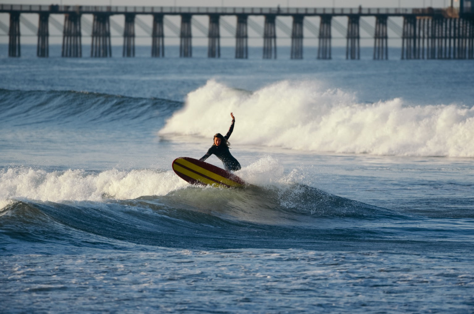 deanna surfing oceanside harbor her waves