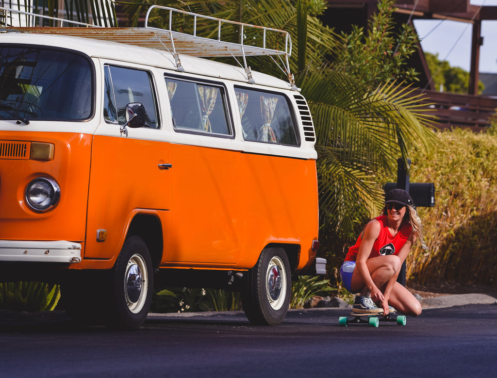 Deanna vw bus skating her waves rolling single