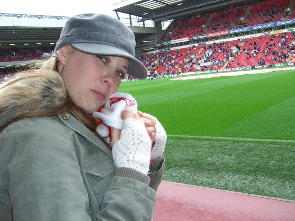 Jen at Anfield watching Liverpool FC her waves