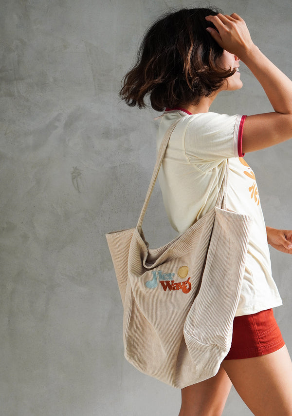 Her Waves Corduroy Tote Bag