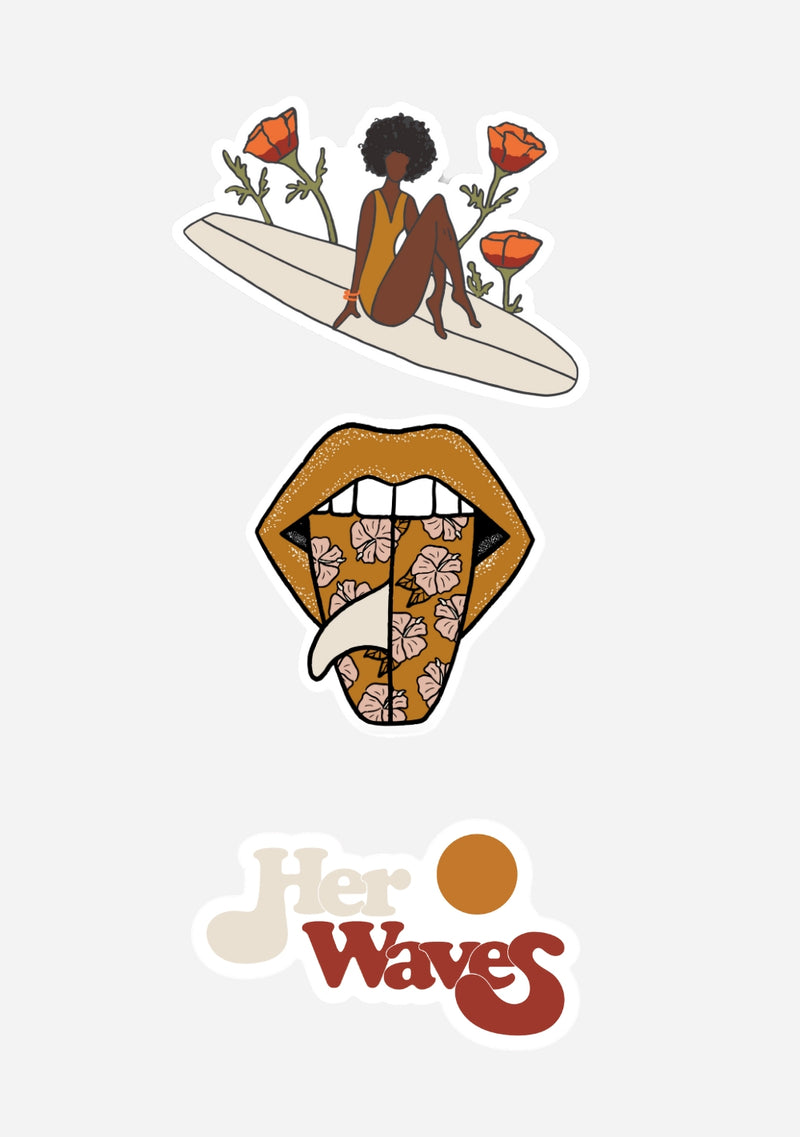 her waves surf sticker pack