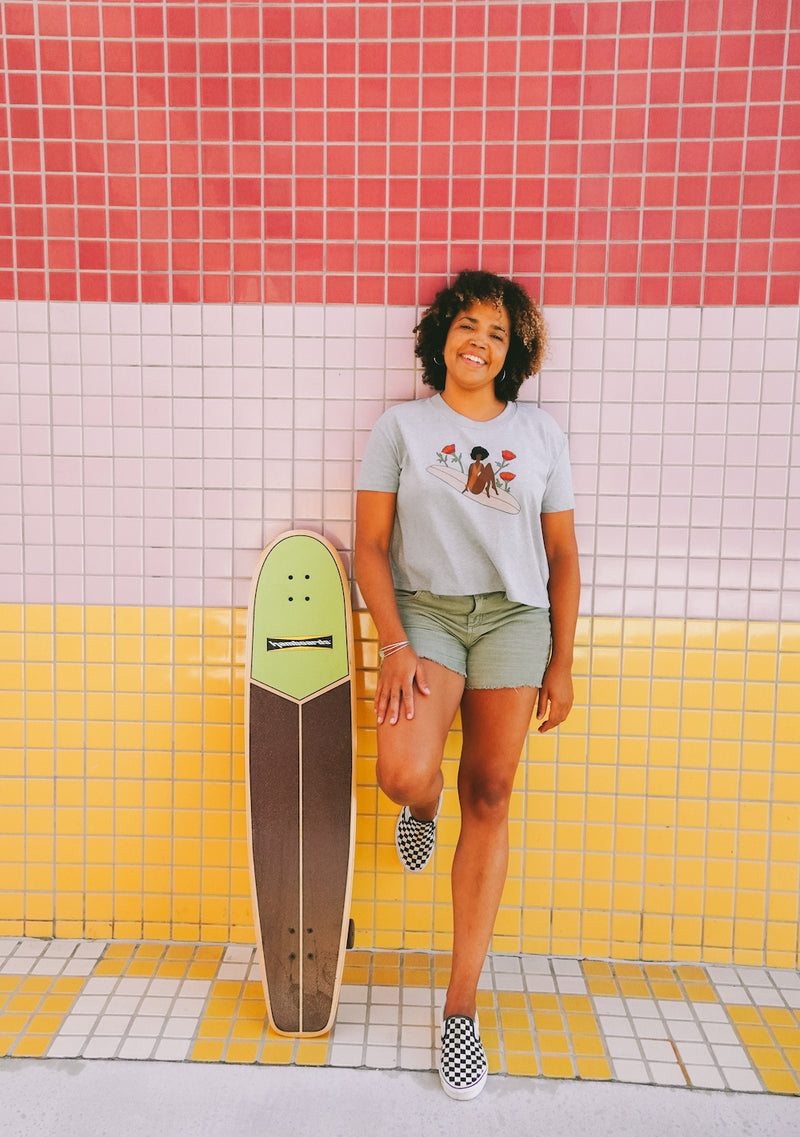 her waves surf crop tee paddle out for peace
