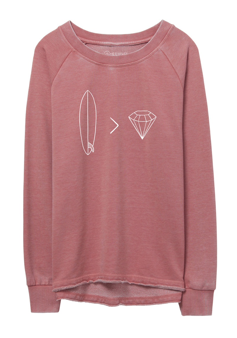Her Waves Surfboard Diamonds sweatshirt rose