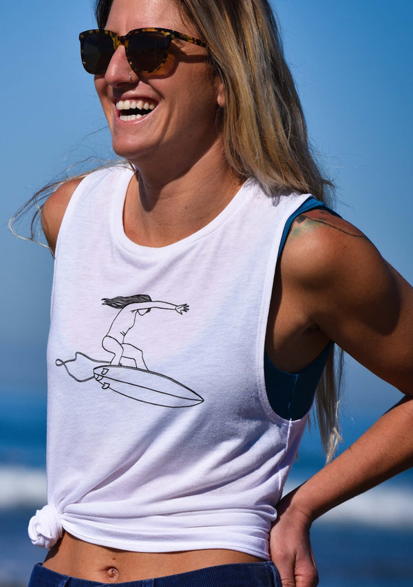 Her Waves Shredder Surf Muscle Tank White