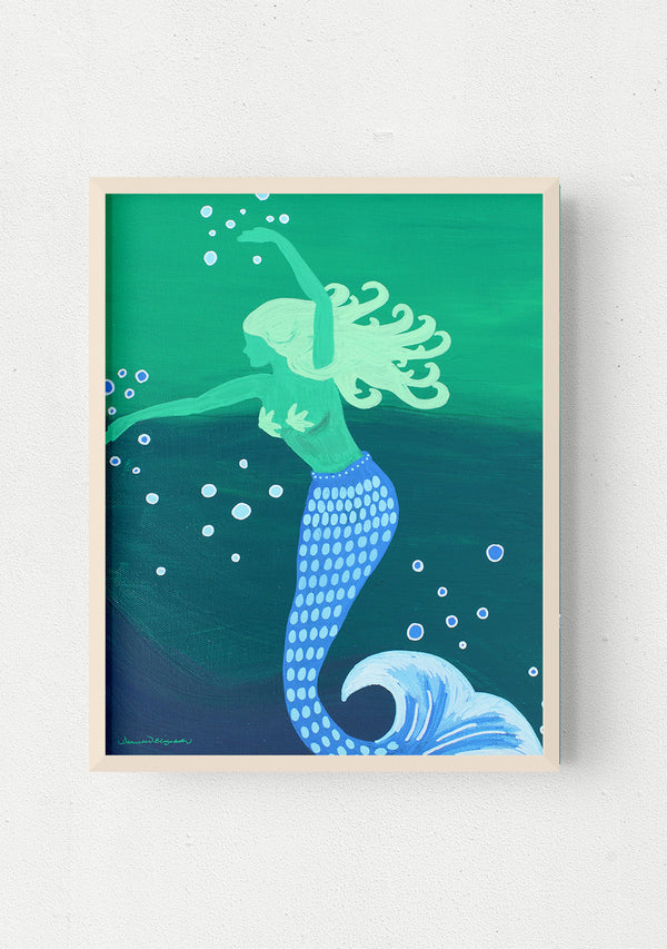 surf mermaid art print