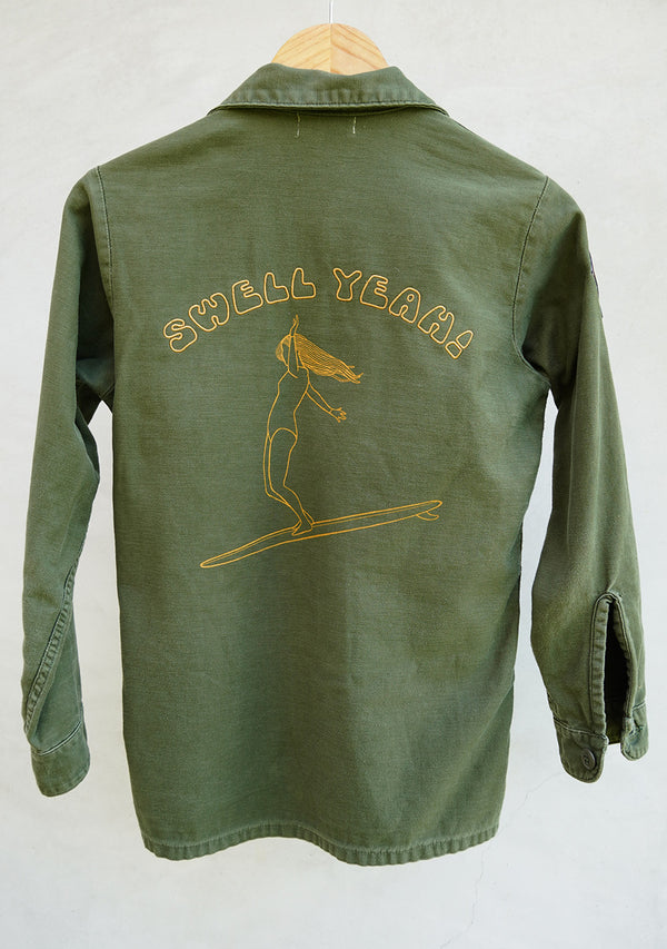vintage army jacket surf design