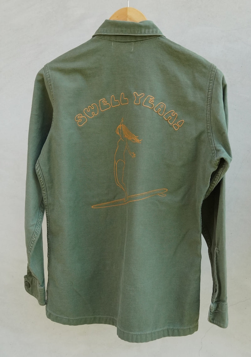 vintage military shirt surf design
