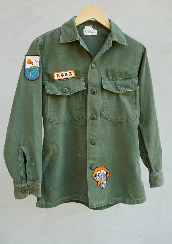 vintage army jacket surf patches
