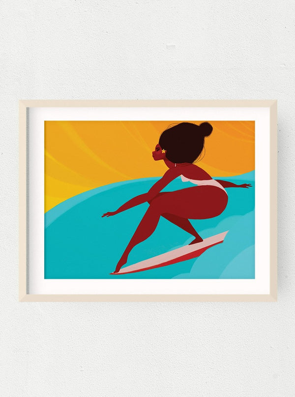 Surfing Queen Print
