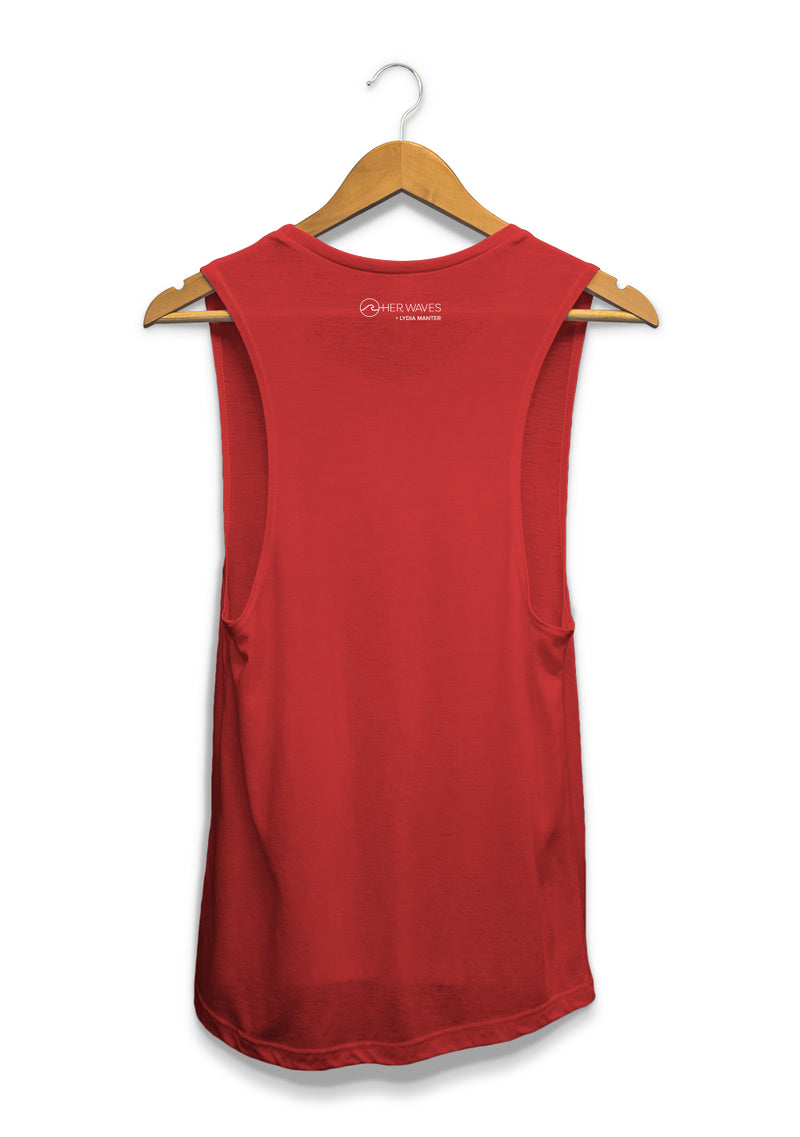 Her waves surf muscle tank red