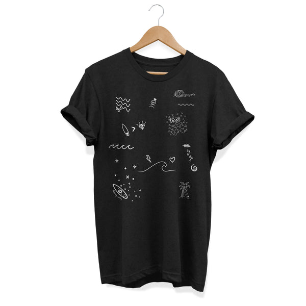 Her Waves Surf Scribbles soft women tee