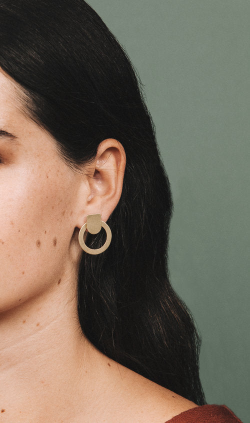 small circle ear jacket earrings, on ear, front