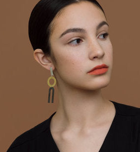 modern, geometric, drop earrings, silver, brass, on model.