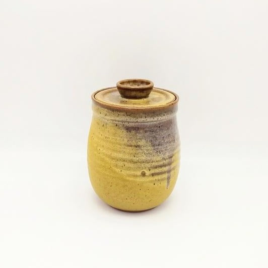 lidded, cannister, ceramic, ochre.