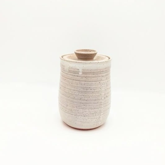 lidded, cannister, ceramic, vanilla.