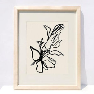 floral, black, line drawing, art print, in wood frame.