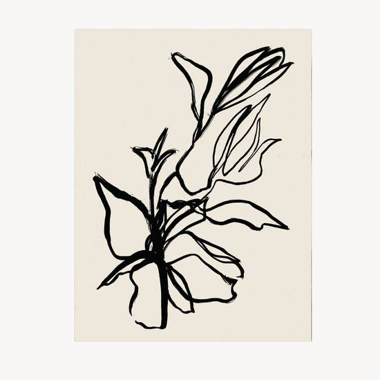 floral, black, line drawing, art print.