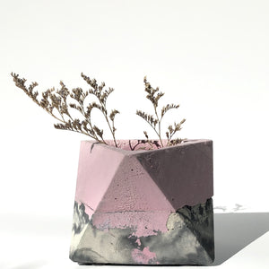 geometric planter, concrete, small, blush.