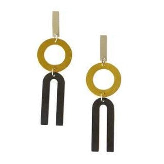 modern, geometric, drop earrings, silver, brass.