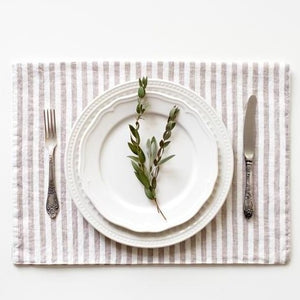 striped, linen, placemat, natural, white, 14x18.