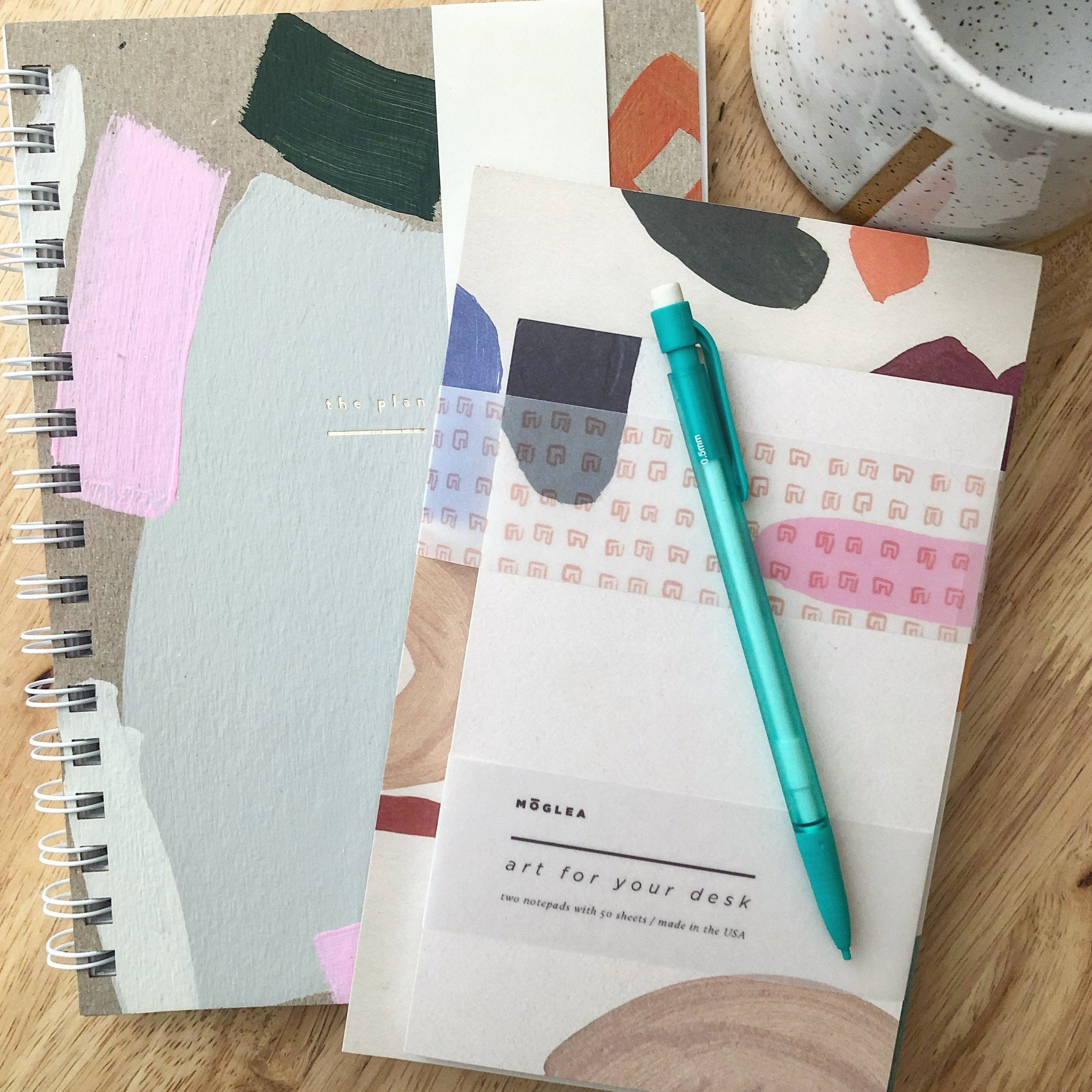 weekly, jotter, desk, notepad, set.