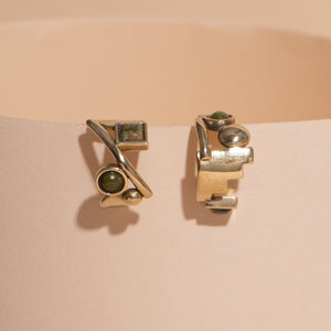 earrings, solid brass, unakite stones, half hoop design, circles, squares and steps