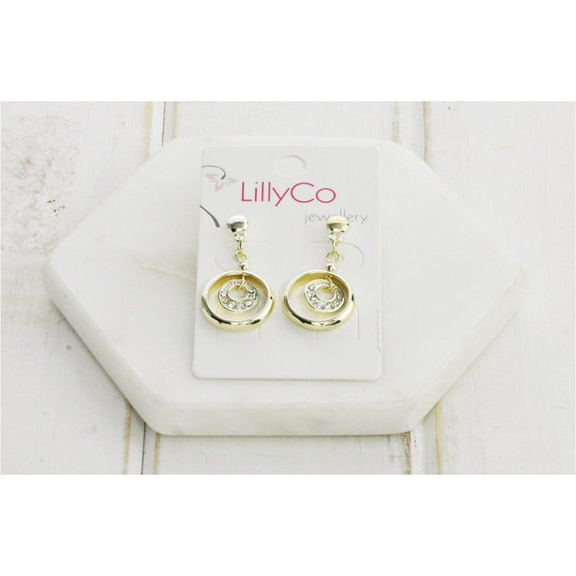 Gold 2 Ring Crystal Earring - Total Wellness & Secret Wishes