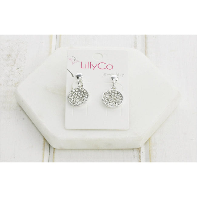Silver Crystal Disc Earring - Total Wellness & Secret Wishes