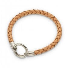 Palas Natural round thick plaited leather bracelet 20.5c