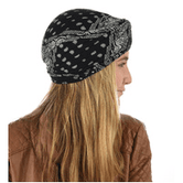Jas Fashion Paisley Print Viscose Turban Black