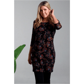 Boho Winter Tunic Black Floral 12