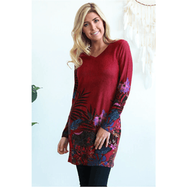 Boho Winter Tunic Burgundy 12