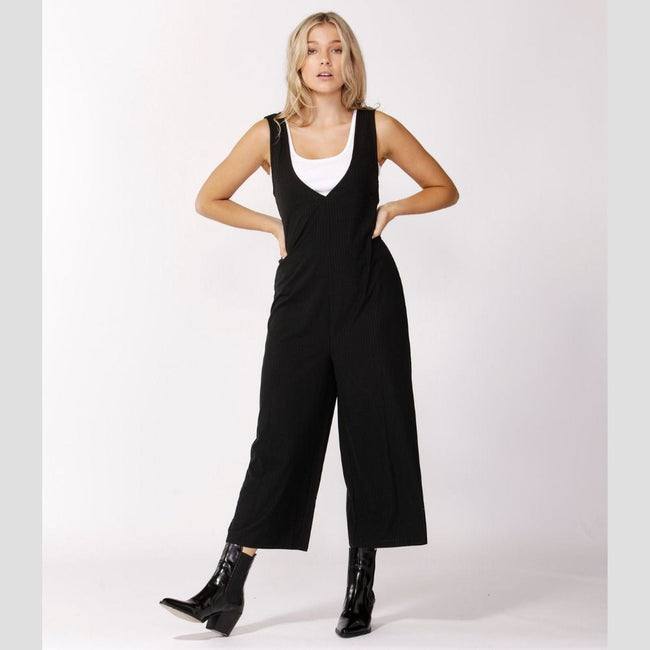 Deja Vu Ribbed Jumpsuit Black 14 - Total Wellness & Secret Wishes