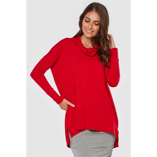 Bamboo body - Red Rowena Cowl Tunic - Total Wellness & Secret Wishes