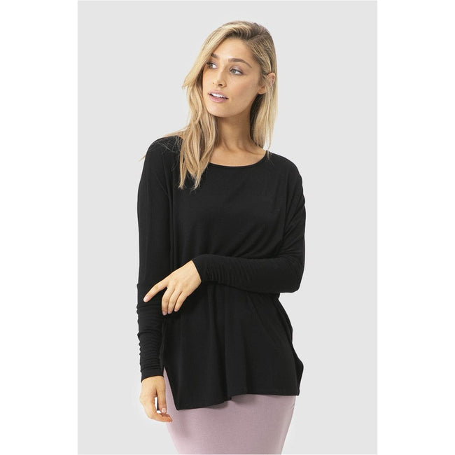 Liv Long sleeve slouch top black - Total Wellness & Secret Wishes