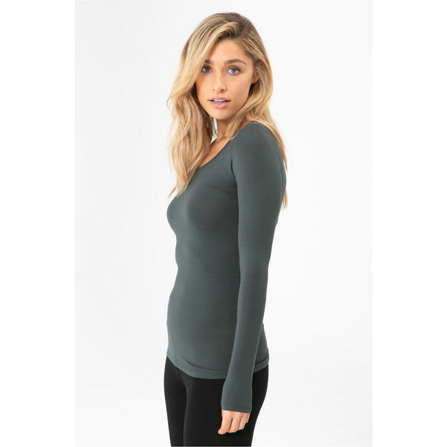 Bamboo Long sleeve layering top Forest Green - Total Wellness & Secret Wishes