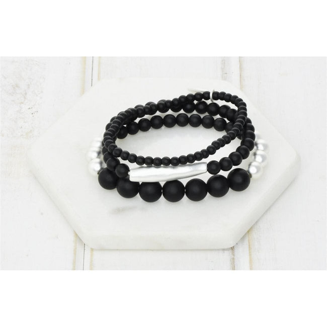 Black & Silver Bead Bracelet - Total Wellness & Secret Wishes