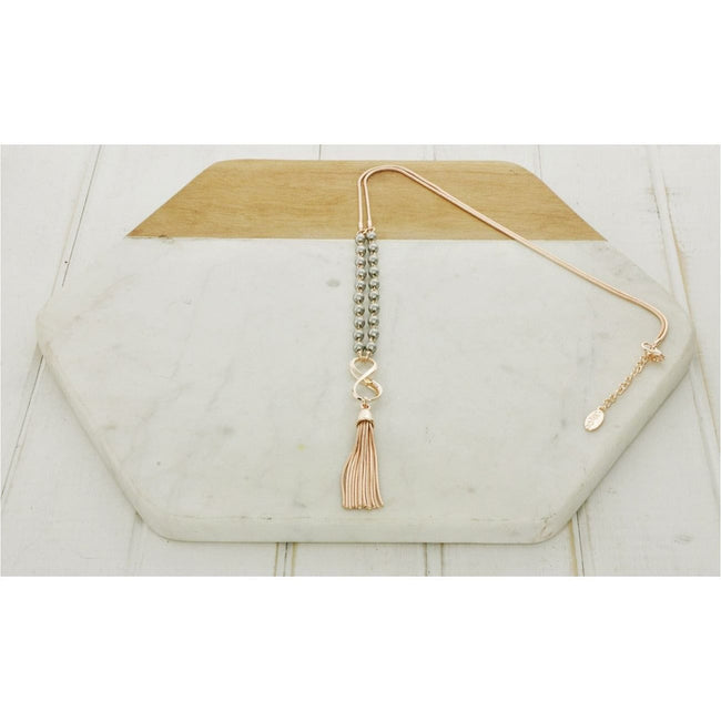 Rose Gold & Silver Matt Bead & Tassel Necklace - Total Wellness & Secret Wishes