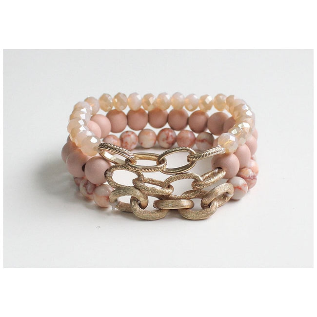 Pink Bead & Chain Bracelet - Total Wellness & Secret Wishes