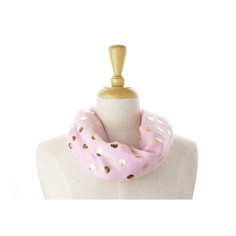 Pink Rose Gold Dot Metallic Print Scarf