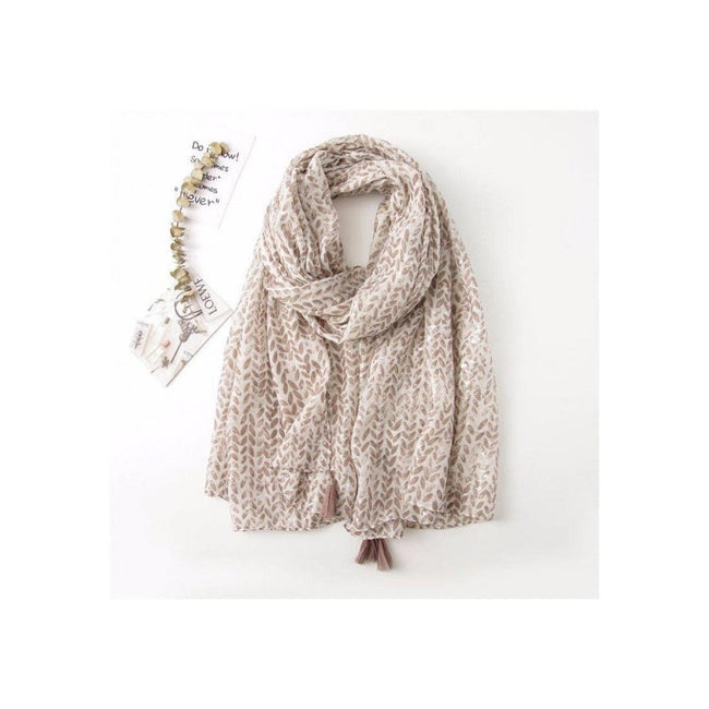 Tan & White Tassel Print Scarf - Total Wellness & Secret Wishes