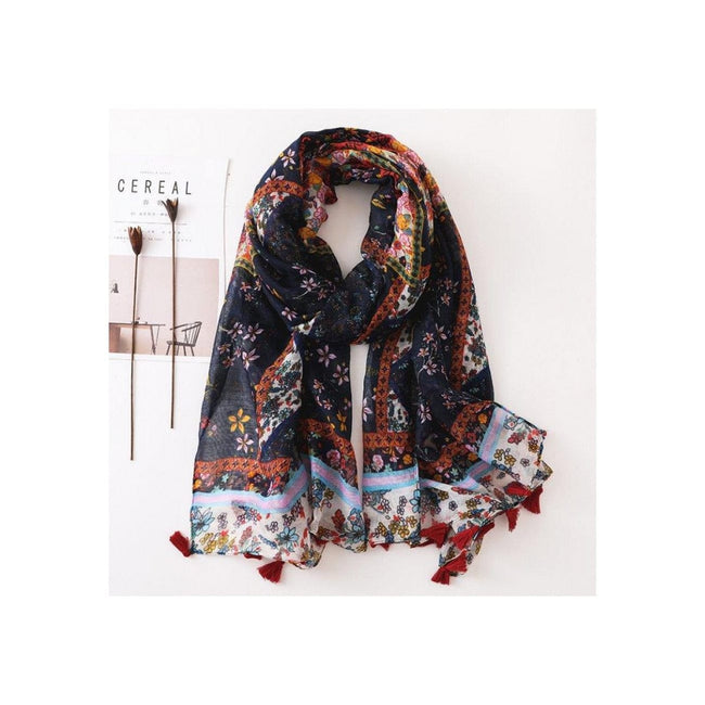 Coral & Navy Print Tassel Scarf - Total Wellness & Secret Wishes