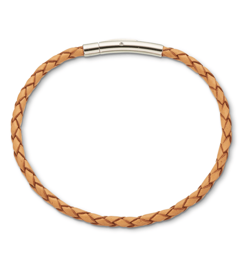 Palas Natural fine leather plaited bracelet 19cm