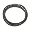 Palas Black fine leather plaited wrap bracelet 55cm