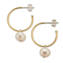 Palas Brs+slv small hoop pearl earrings