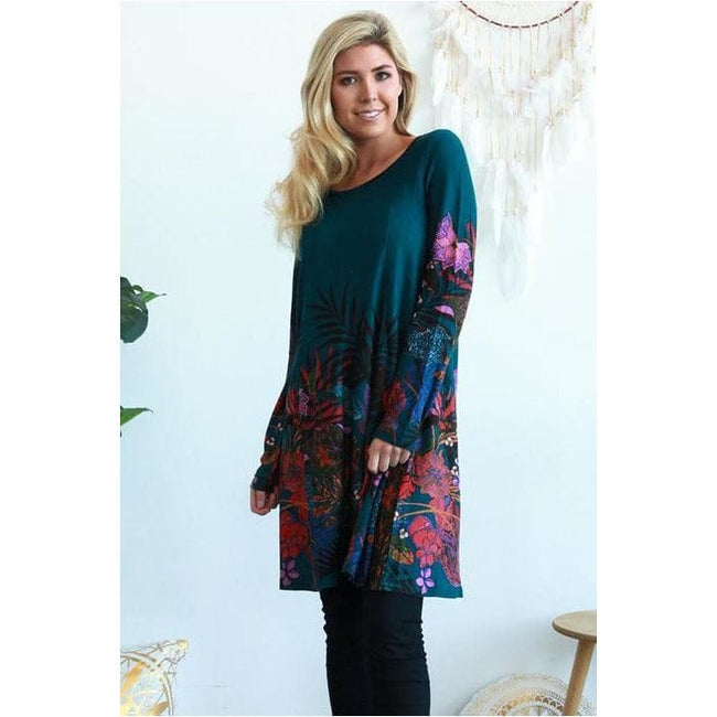 Cherry Tree Green Tunic M - Total Wellness & Secret Wishes