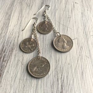 Three and Six pence Silver Earrings
